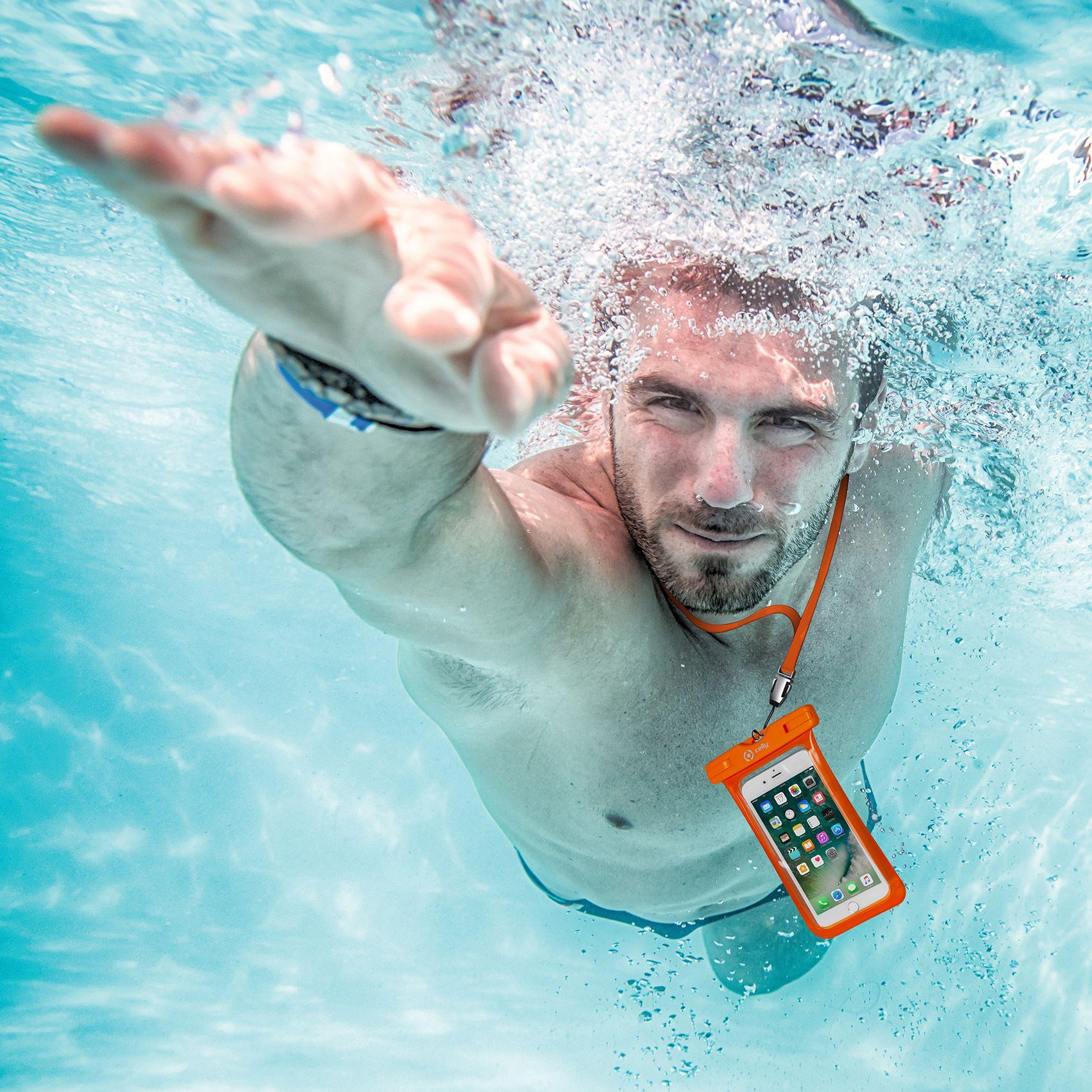 """Univerzální voděodolné pouzdro CELLY Splash Bag pro telefony 6,2"""", oranžové"""