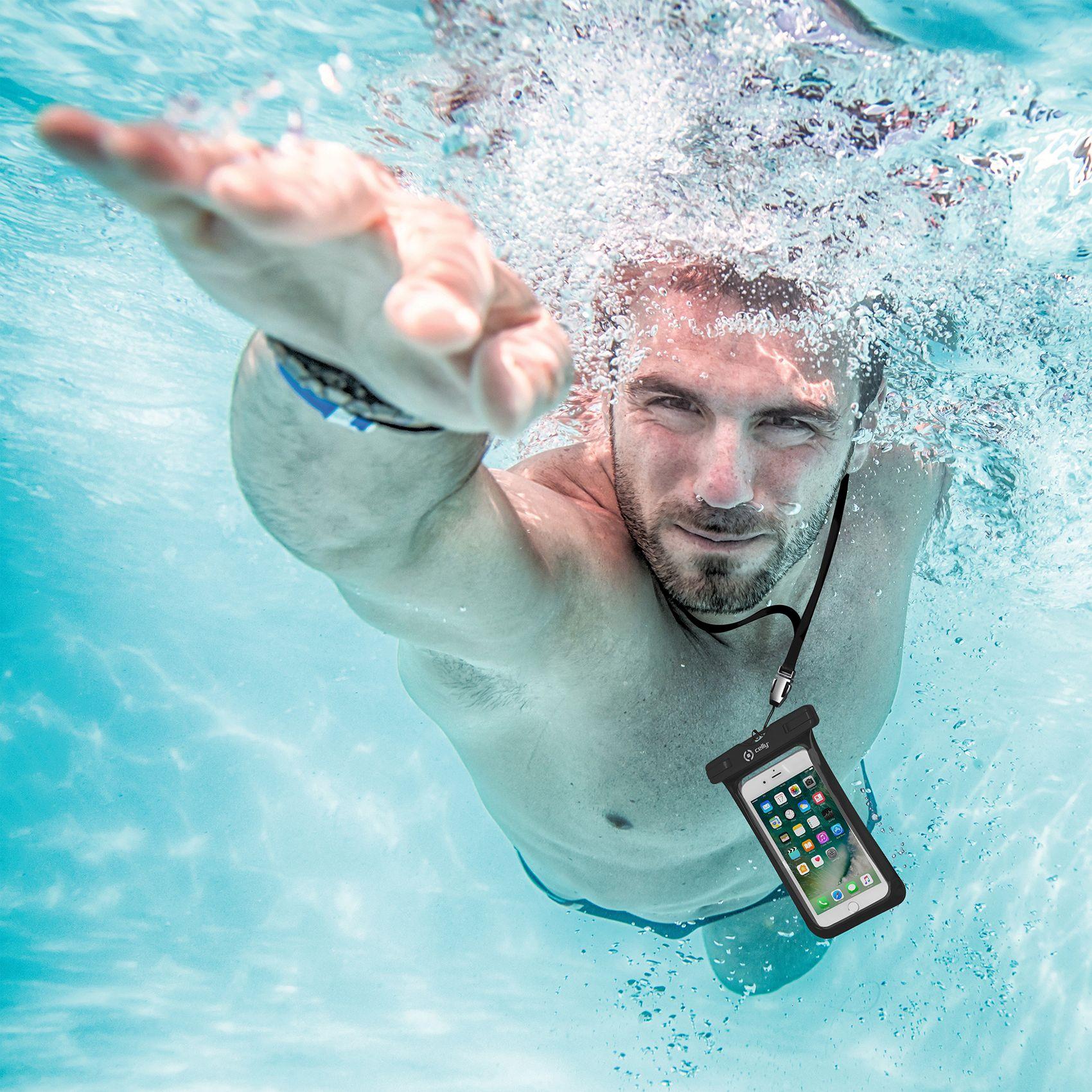 """Univerzální voděodolné pouzdro CELLY Splash Bag pro telefony 6,2"""", černé"""