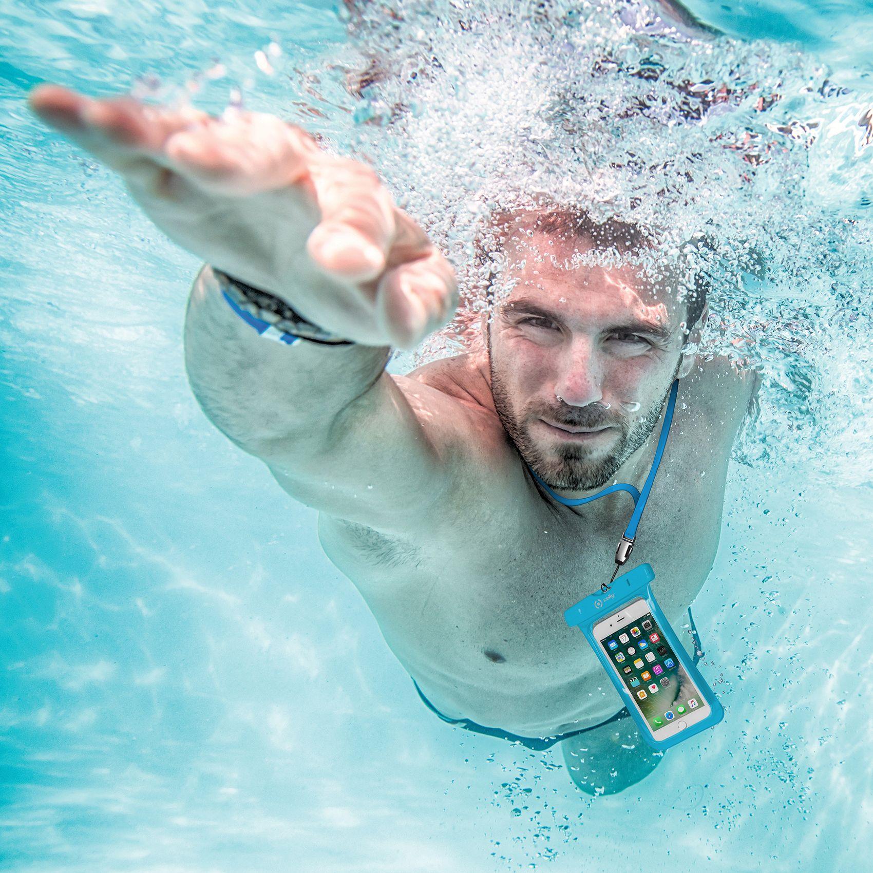 """Univerzální voděodolné pouzdro CELLY Splash Bag pro telefony 6,2"""", modré"""