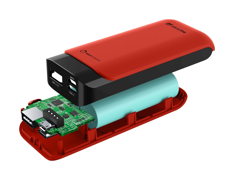 Prémiová powerbanka CellularLine PowerUp s Usb-C, 5200mAh, červená