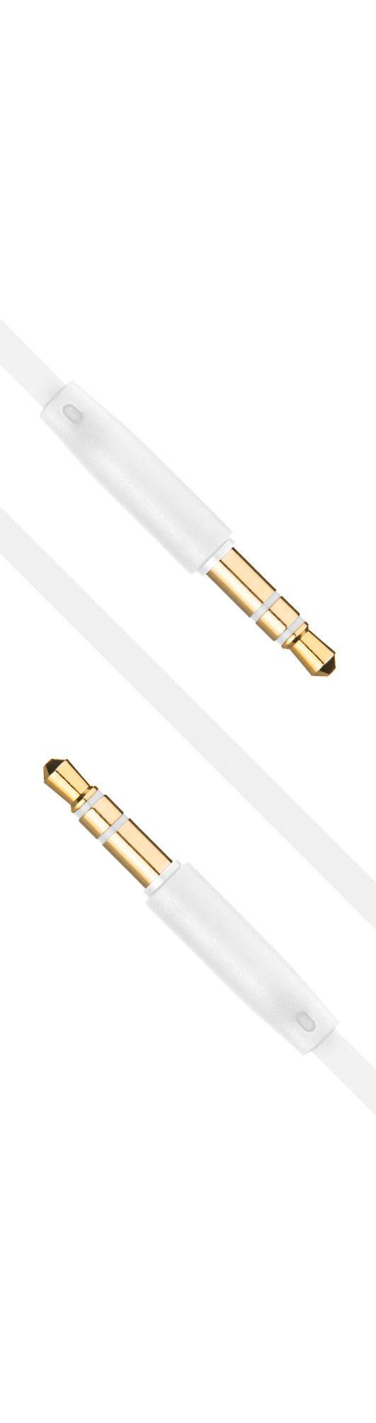 Plochý audio AUX kabel FIXED s konektory 2 x 3,5 mm jack, bílý