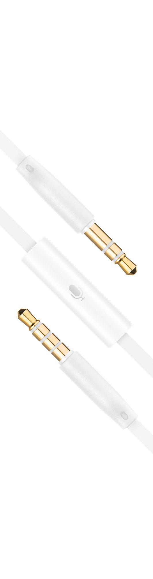 Plochý audio AUX kabel FIXED s konektory 2 x 3,5 mm jack s mikrofonem, bílý