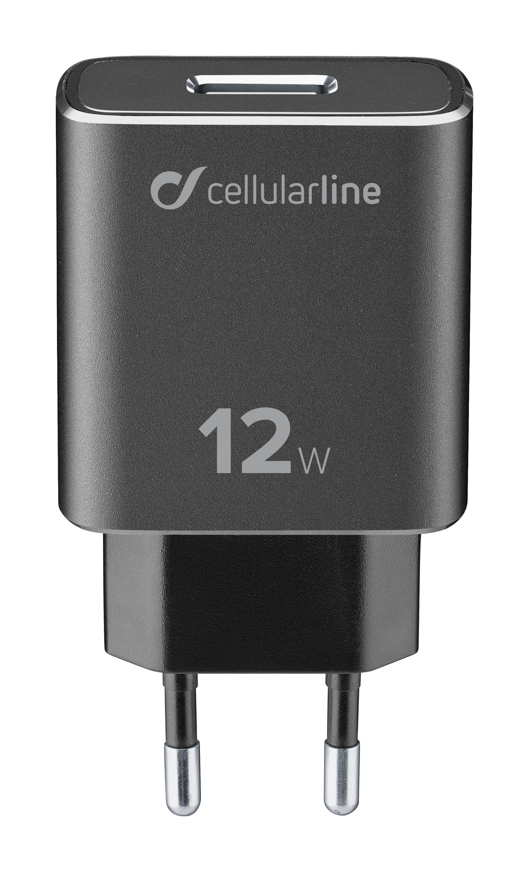 Set USB nabíječky a odolného Lightning kabelu Cellularline Tetra Force 12W, MFI certifikace, černá