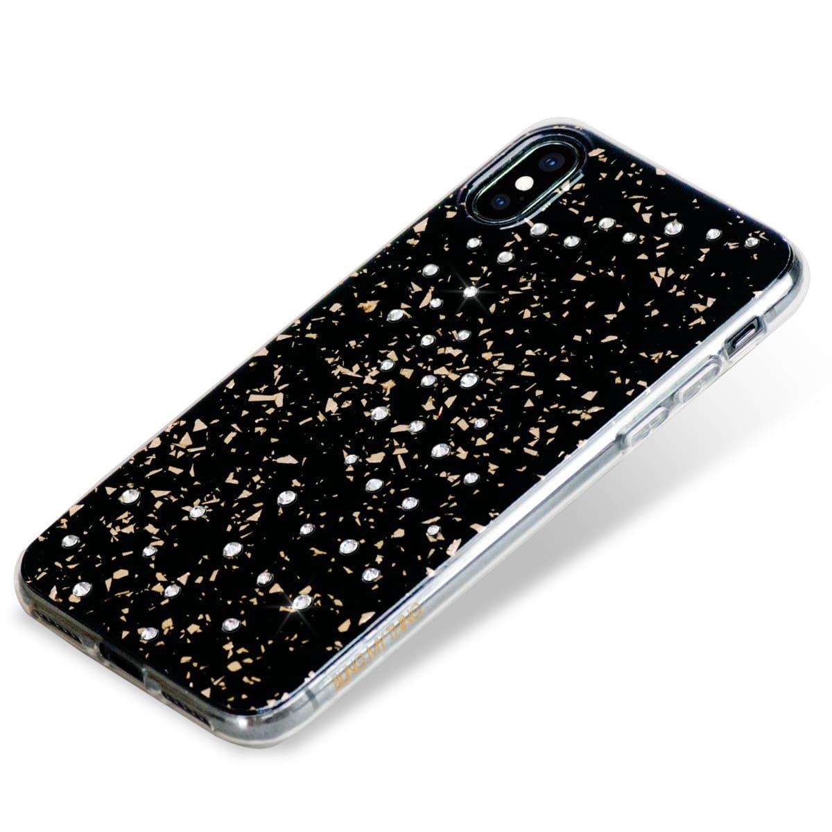 Zadní kryt Bling My Thing Milky Way Pure Brilliance pro Apple iPhone X/XS, krystaly Swarovski®, černý