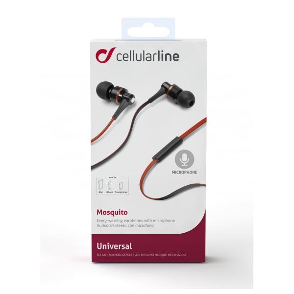 In-ear sluchátka CellularLine Mosquito s mikrofonem, 3,5 mm jack, headset, plochý kabel, černo-červené