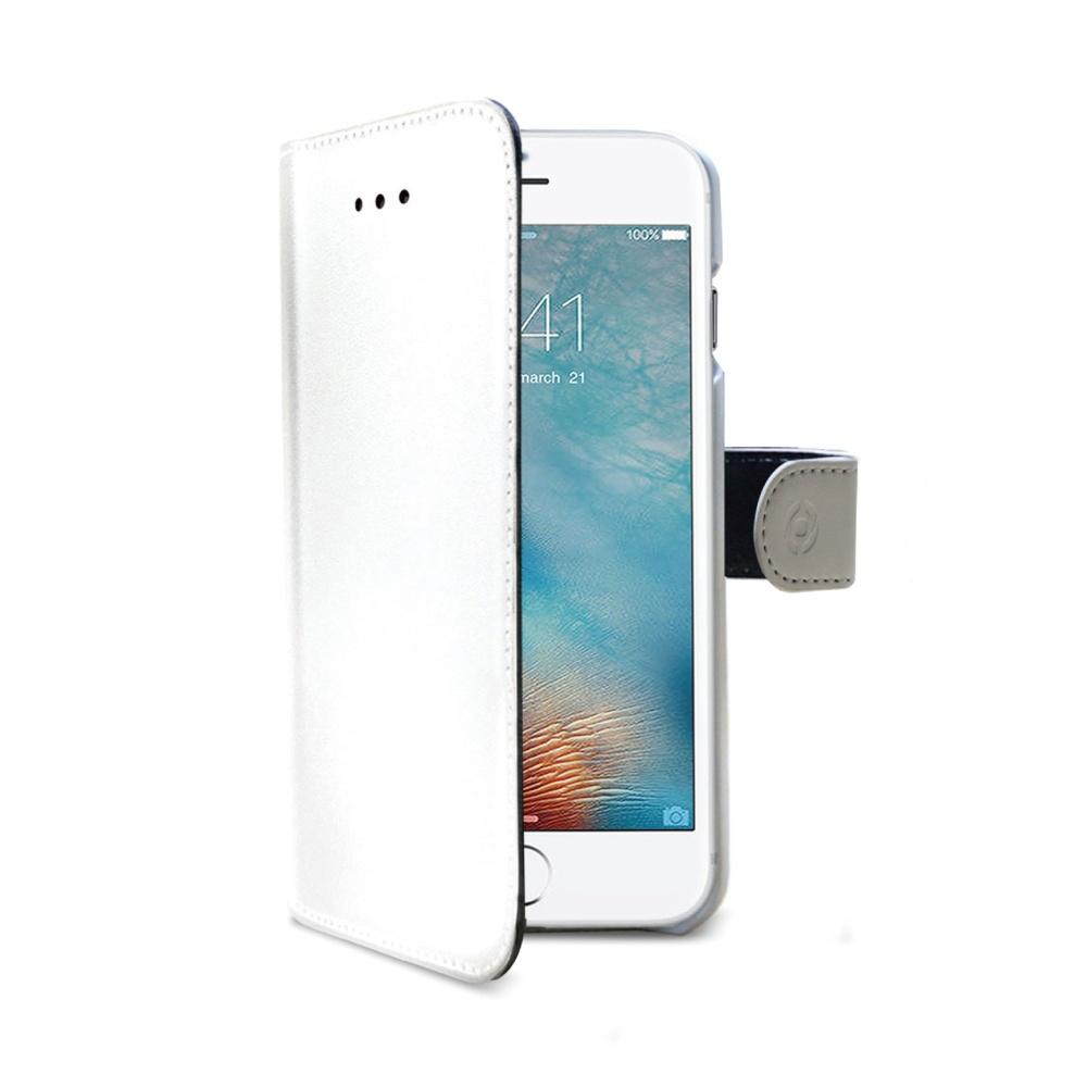 Pouzdro typu kniha CELLY Wally pro Apple iPhone 7 Plus/8 Plus, PU kůže, bílé