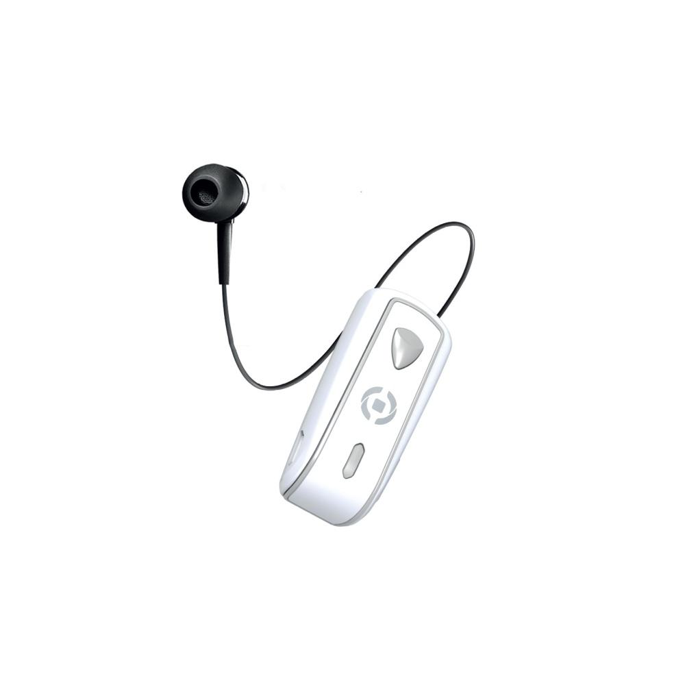 Bluetooth headset CELLY SNAIL s klipem a navijákem kabelu, bílý