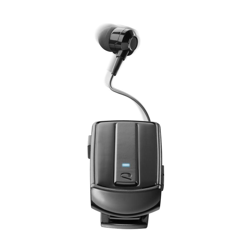 Bluetooth headset CellularLine Roller Clip s klipem a navijákem kabelu, černý