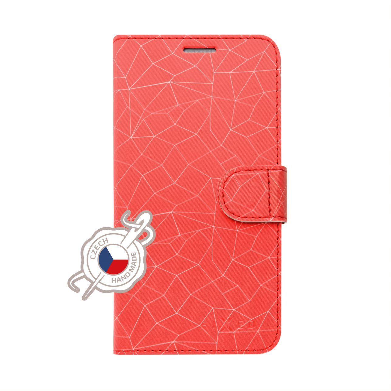 Pouzdro typu kniha FIXED FIT pro Samsung Galaxy J6+ (2018), motiv Red Mesh