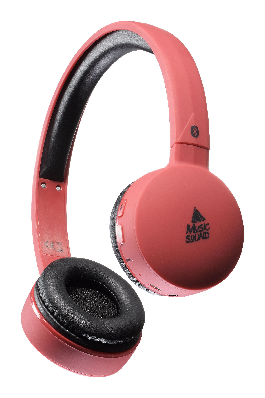 Bluetooth sluchátka MUSIC SOUND s hlavovým mostem a mikrofonem, červená