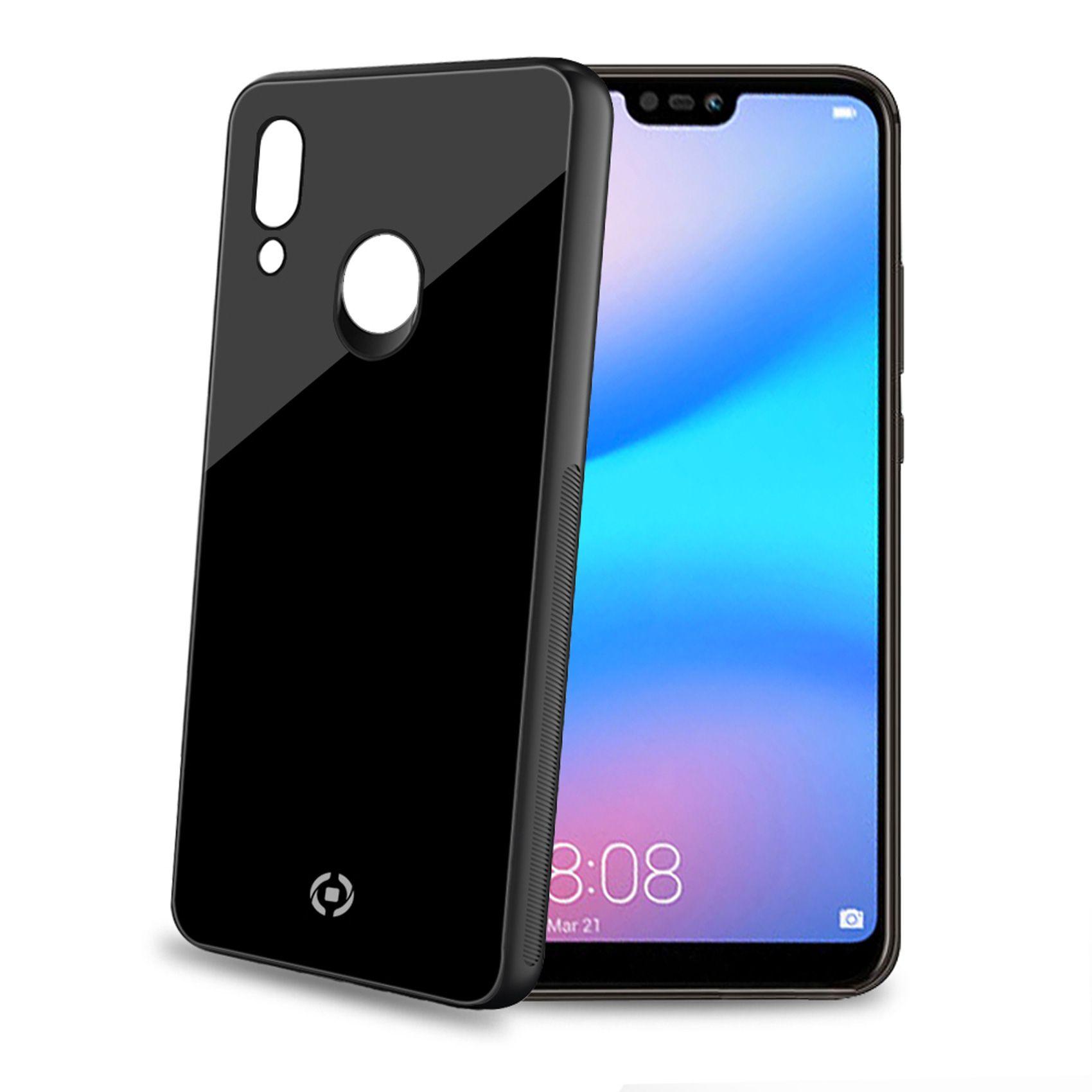 Elegantní zadní kryt CELLY Diamond z tvrzeného skla a TPU pro Huawei P20 Lite, černý