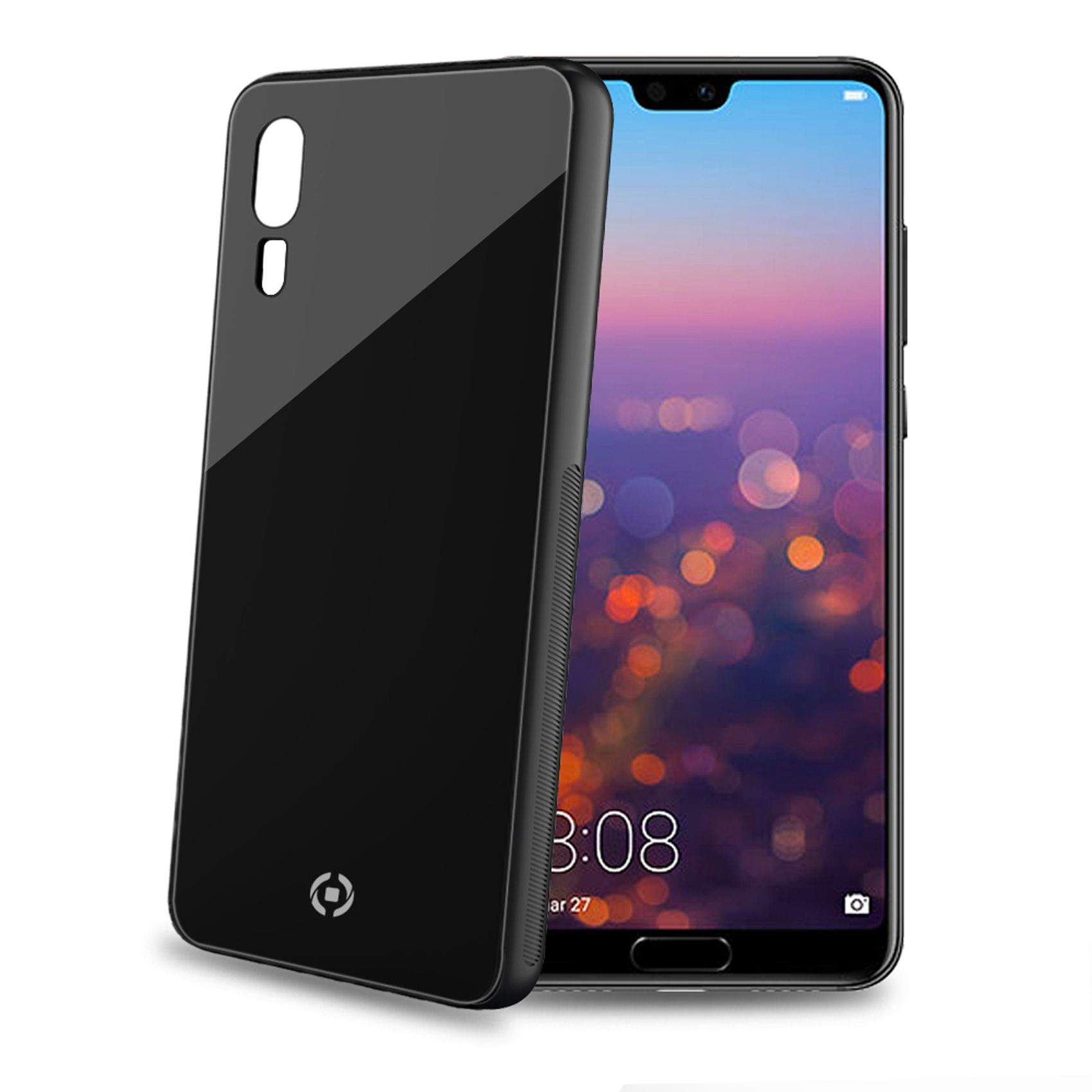 Elegantní zadní kryt CELLY Diamond z tvrzeného skla a TPU pro Huawei P20, černý