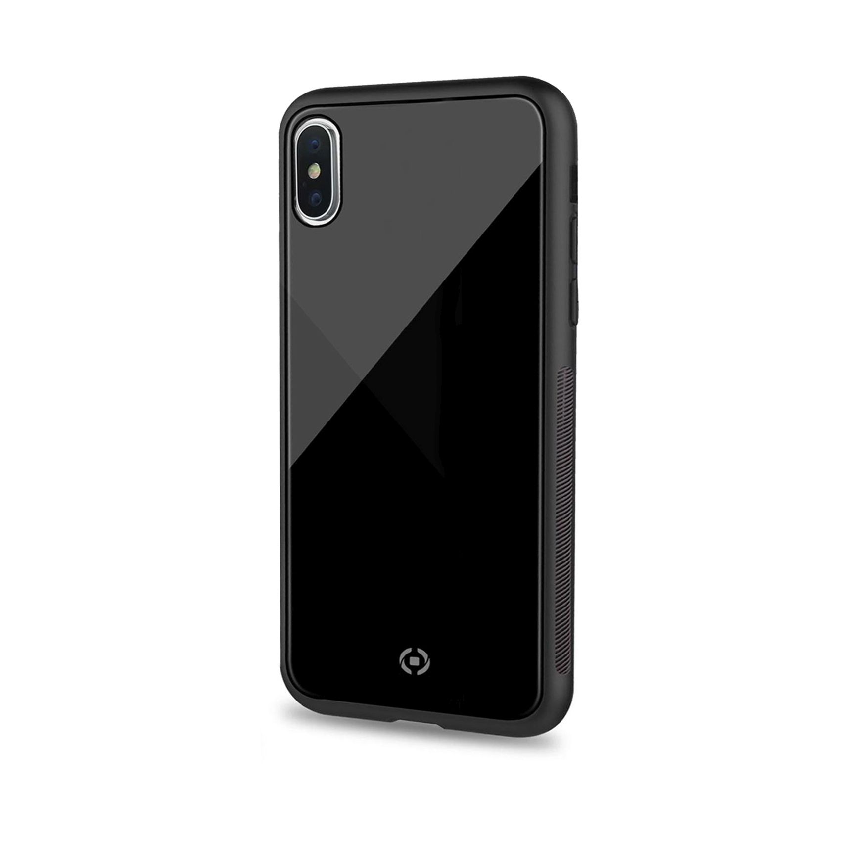 Elegantní zadní kryt CELLY Diamond z tvrzeného skla a TPU pro Apple iPhone XS Max, černý
