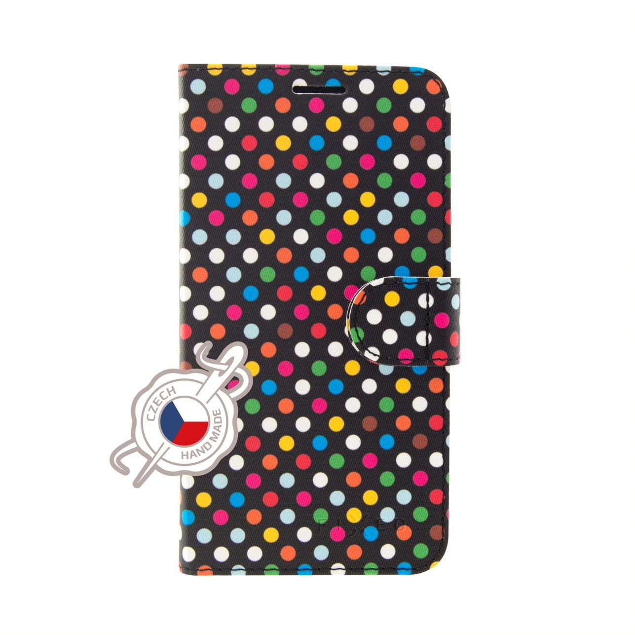 Pouzdro typu kniha FIXED FIT pro Apple iPhone XS, motiv Rainbow Dots