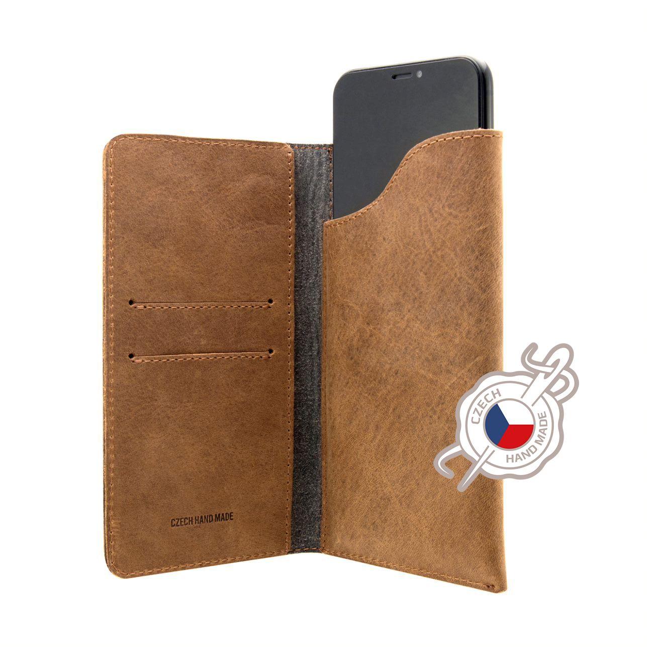 Kožené pouzdro FIXED Pocket Book pro Apple iPhone 6 Plus/6S Plus/7 Plus/8 Plus/XS Max/11 Pro Max, hnědé