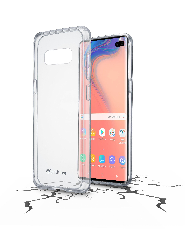 Zadní čirý kryt s ochranným rámečkem Cellularline CLEAR DUO pro Samsung Galaxy S10+