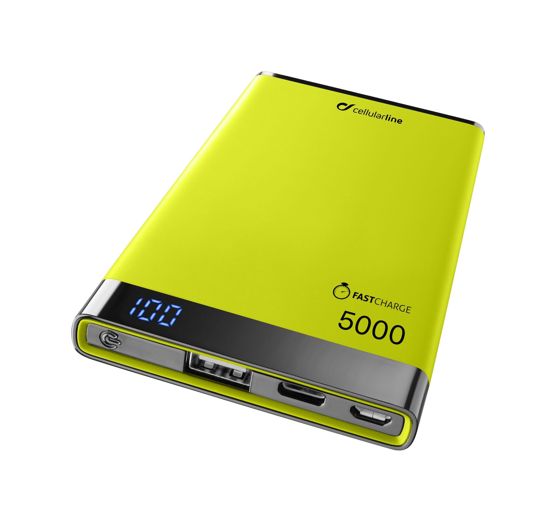 Prémiová powerbanka CellularLine FREEPOWER MANTA S, 5000mAh, USB-C + USB port, žlutá