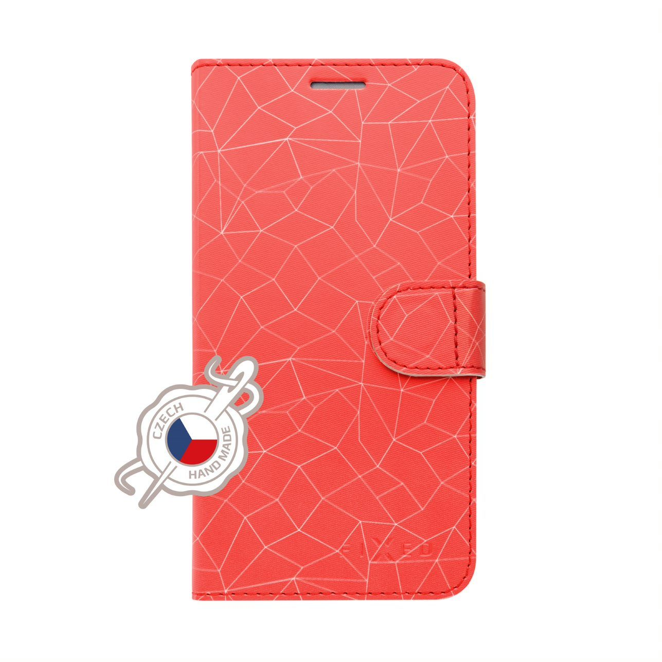 Pouzdro typu kniha FIXED FIT pro Xiaomi Redmi Note 7/7 Pro, motiv Red Mesh
