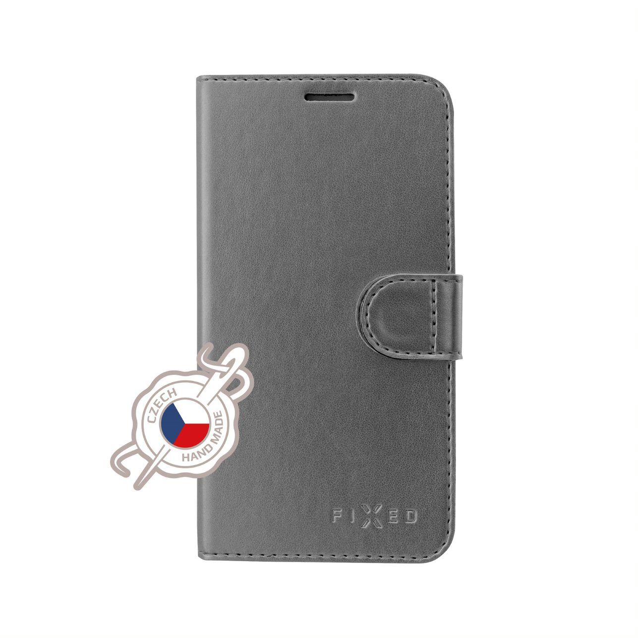 Pouzdro typu kniha FIXED FIT Shine pro Samsung Galaxy Note10, antracitové