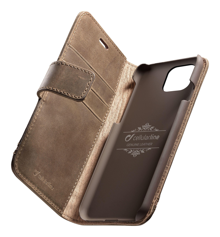 Prémiové kožené pouzdro typu kniha Cellularine Supreme pro Apple iPhone 11 Pro, hnědé