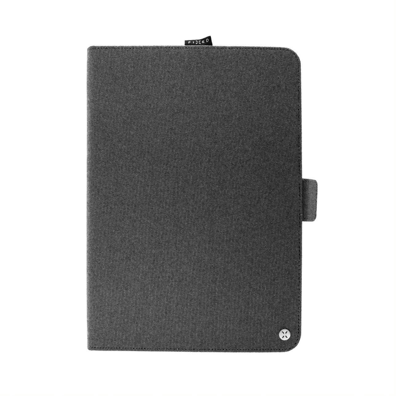 """Textilní pouzdro pro 10,1"""" tablety FIXED Novel se stojánkem a kapsou pro stylus, temně šedé"""