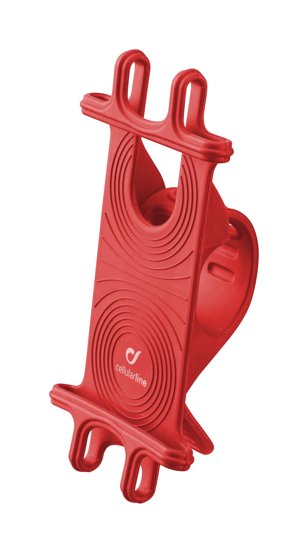 Univerzální držák Cellularline Bike Holder pro mobilní telefony k upevnění na řídítka, červený