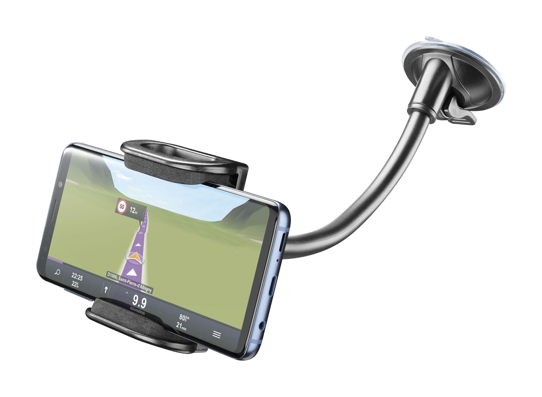 Univerzální držák s přísavkou Cellularline Pilot Flexi pro mobilní telefony, černý