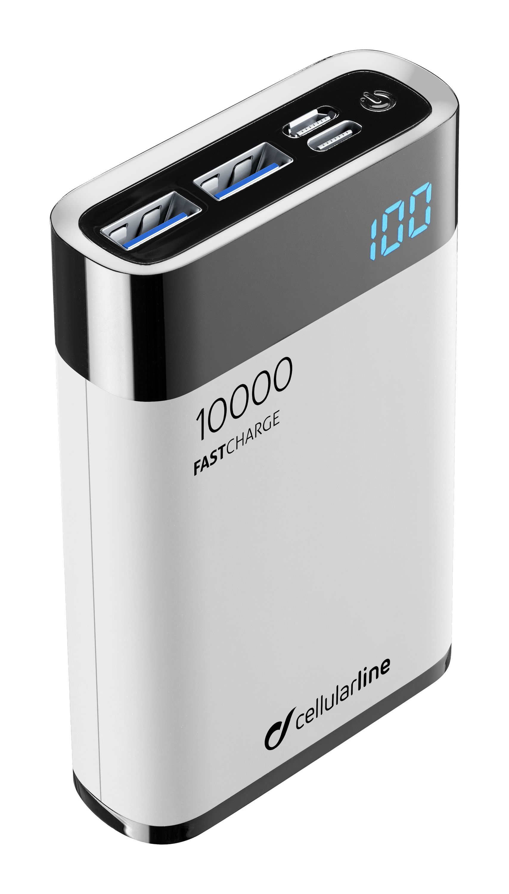 Kompaktní powerbanka Cellularline FreePower Manta HD 10000mAh, Smartphone Detect, USB-C + 2xUSB port, bílá