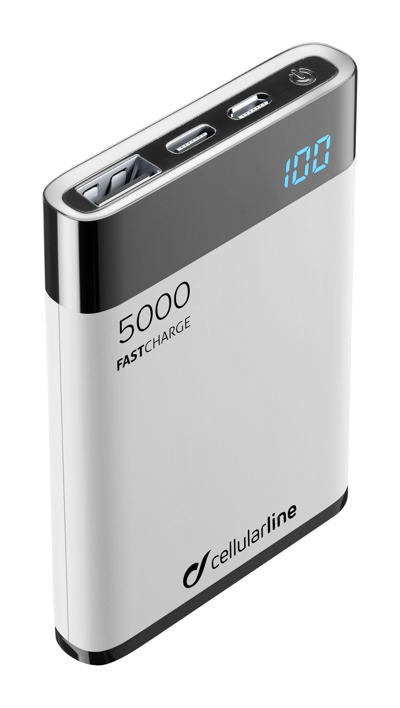 Kompaktní powerbanka Cellularline FreePower Manta HD, 5000 mAh, USB-C + USB port, rychlé nabíjení, bílá