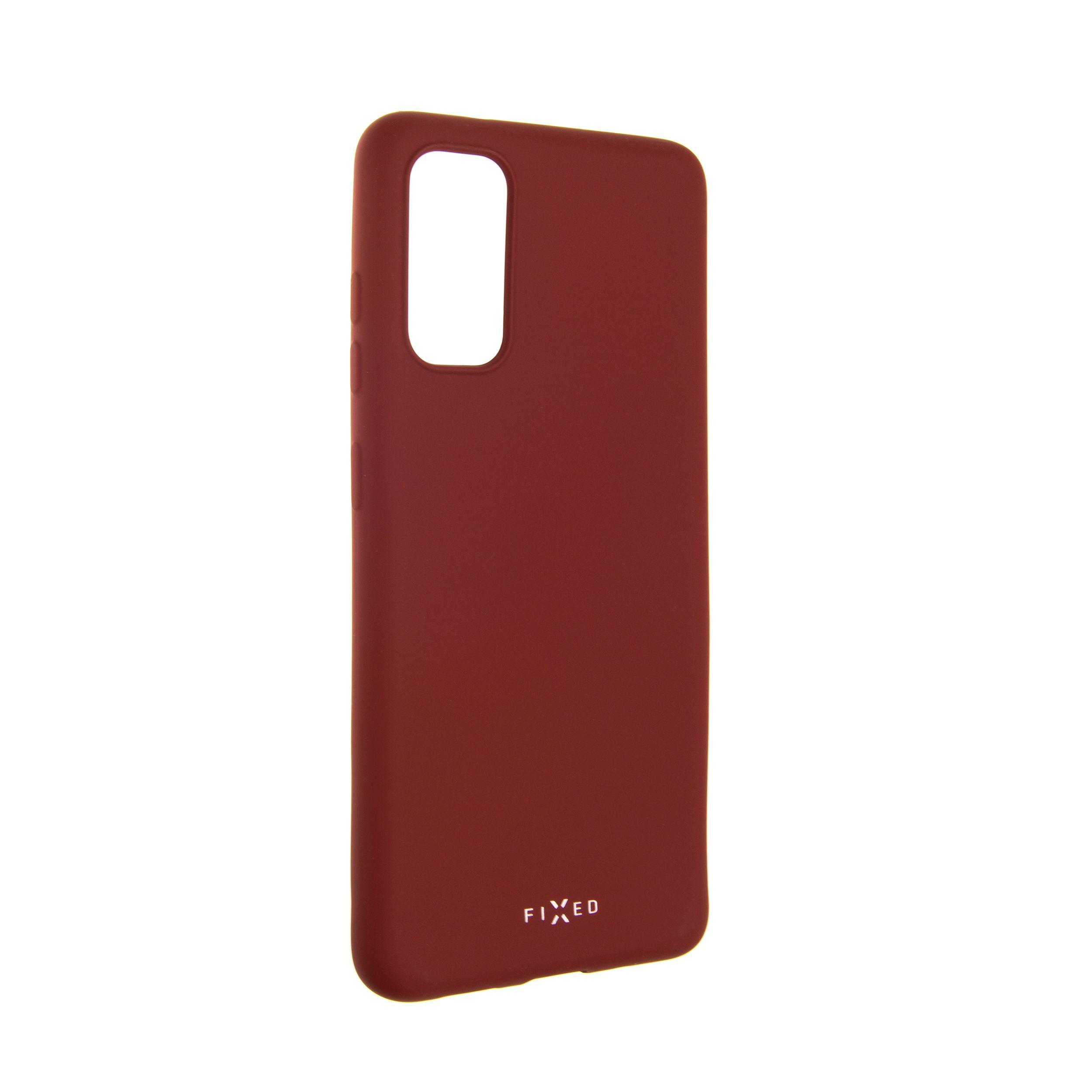 Zadní pogumovaný kryt FIXED Story pro Samsung Galaxy S20, červený