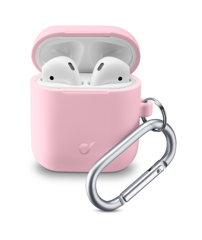 Ochranný kryt s karabinou Cellularline Bounce pro Apple AirPods 1 & 2, růžový