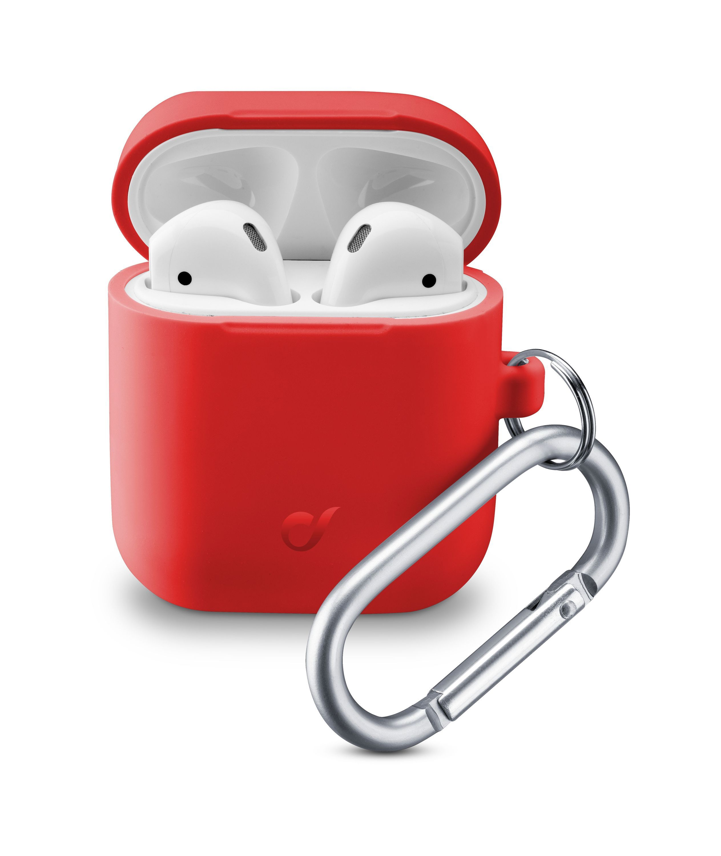 Ochranný kryt s karabinou Cellularline Bounce pro Apple AirPods 1 & 2, červený