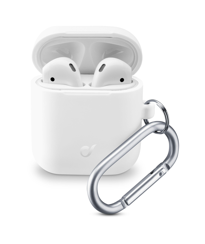 Ochranný kryt s karabinou Cellularline Bounce pro Apple AirPods 1 & 2, bílý