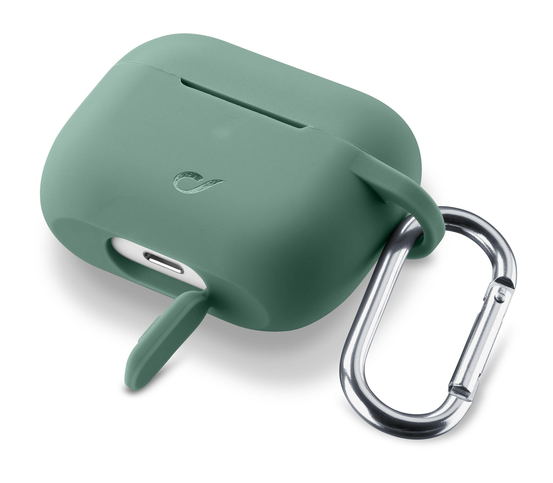Ochranný kryt s karabinou Cellularline Bounce pro Apple AirPods Pro, zelený