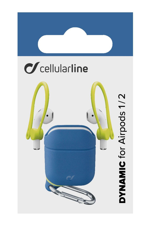 Ochranný kryt s karabinou Cellularline Dynamic pro Apple AirPods 1&2 s nástavci za ucho,  modrý