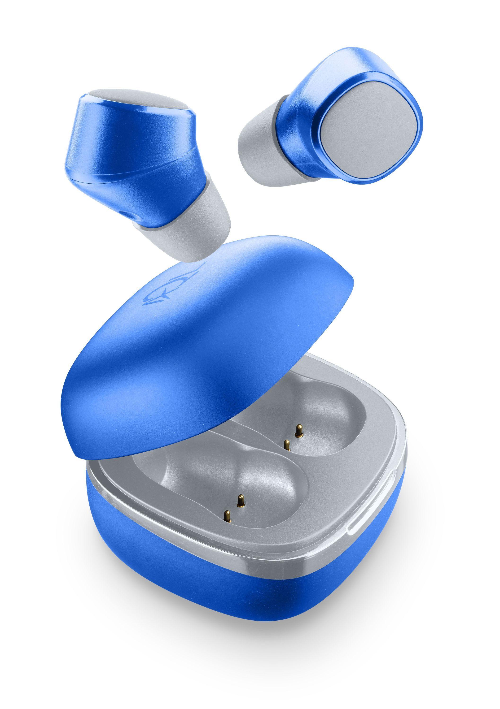 True Wireless sluchátka Cellularline Evade s dobíjecím pouzdrem, modrá