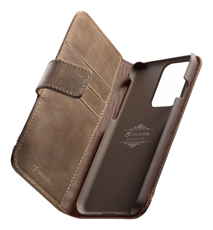 Prémiové kožené pouzdro typu kniha Cellularline Supreme pro Samsung Galaxy S20 Ultra, hnědé