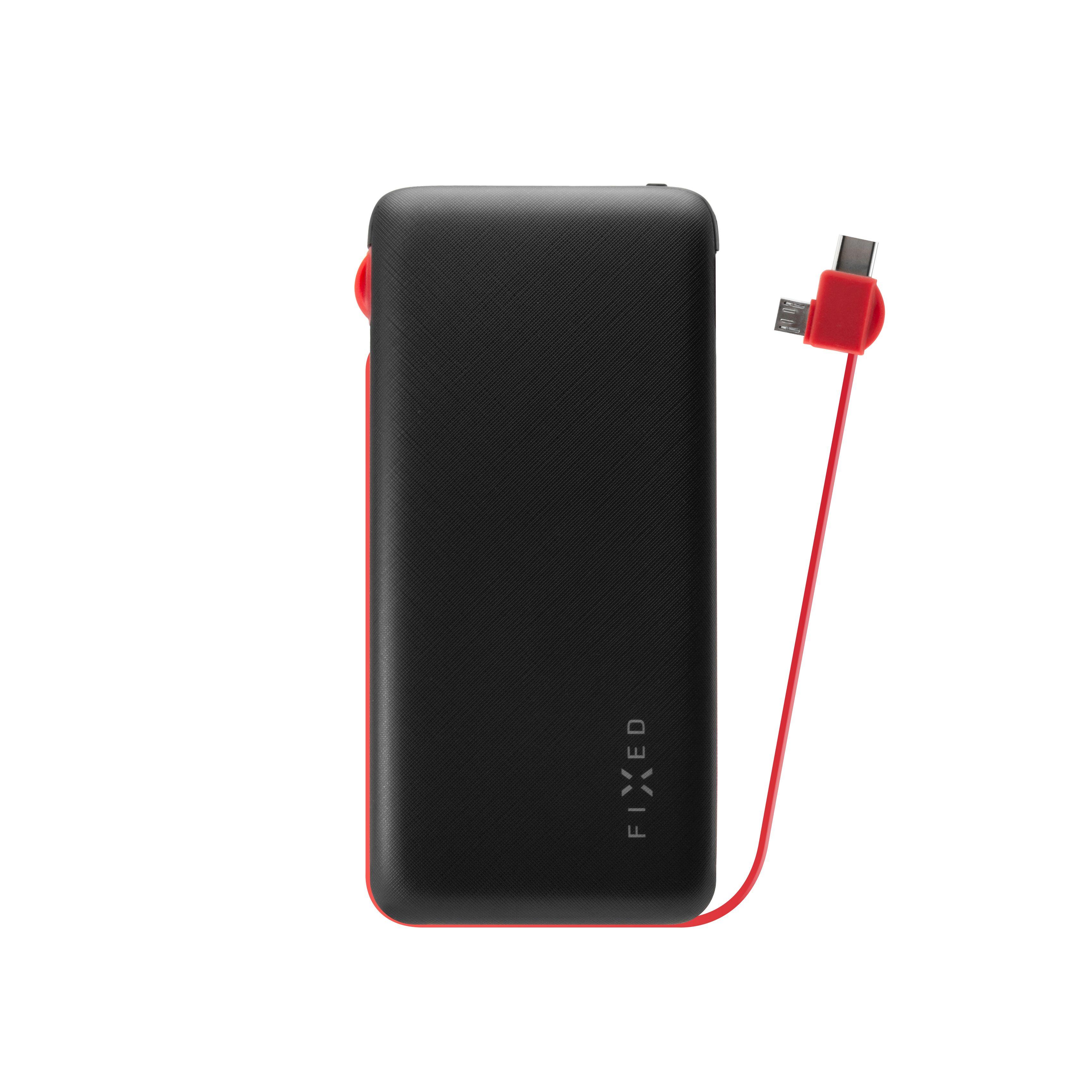 Powerbanka FIXED Zen 10 000 s kabelem microUSB/USB-C, 10 000 mAh, černá