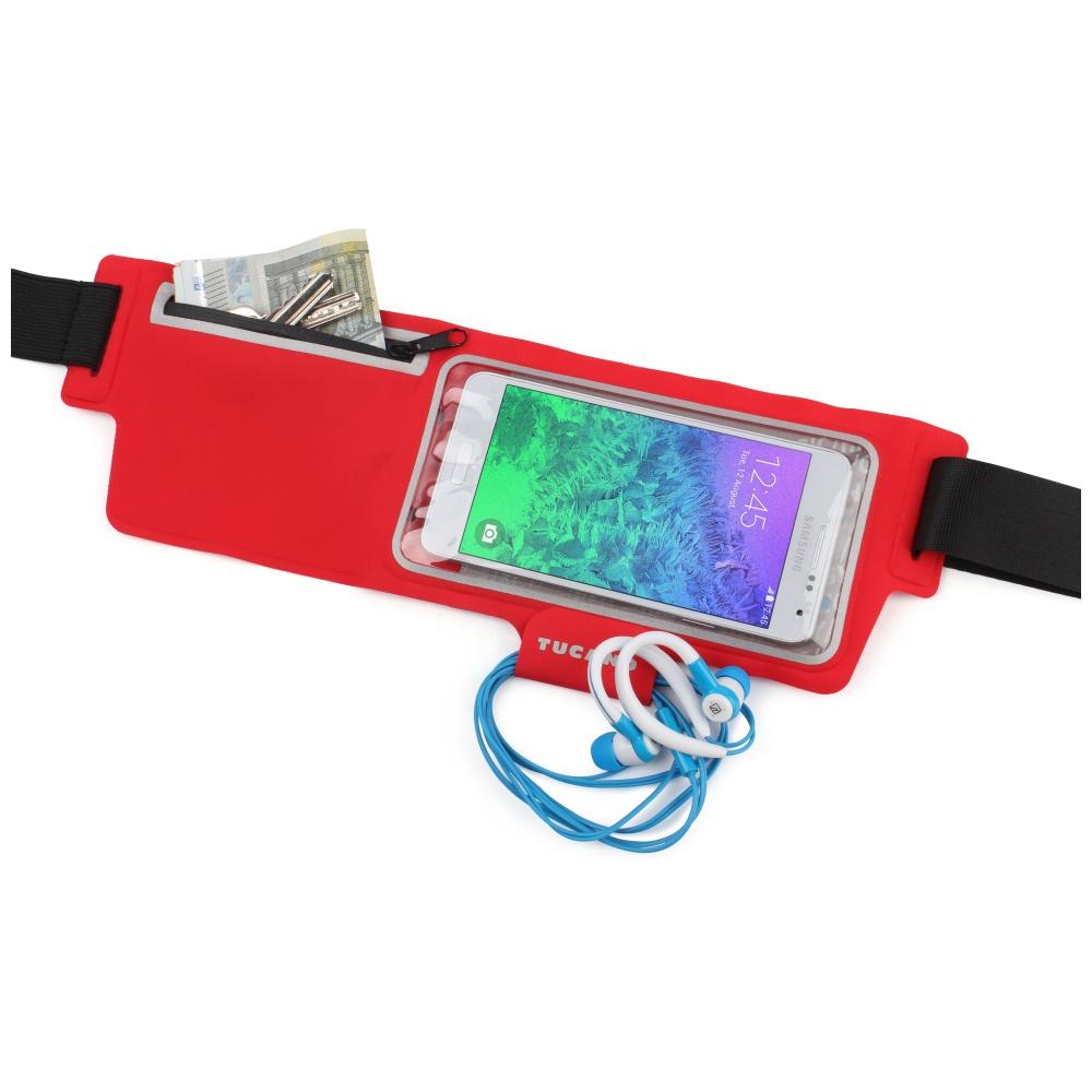 """Ultratenké sportovní pouzdro TUCANO Waistband, pro telefony do velikosti 5"""", červené"""