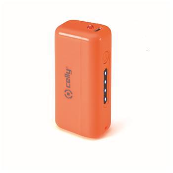 Powerbanka CELLY s USB výstupem, microUSB kabelem, 2200 mAh, 1A, oranžová