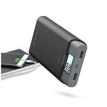 Prémiová powerbanka CellularLine FREEPOWER, 10000mAh, 3A, displej, černá