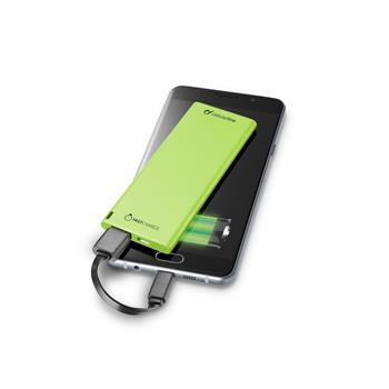 Ultratenká powerbanka CellularLine FREEPOWER SLIM, 3000mAh, zelená