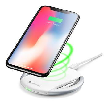 Wireless Charger CellularLine Wireless Fast Charger + Fast Charge Adapter 10W, Qi Standard, White