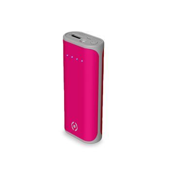 Powerbanka CELLY Daily s USB výstupem, 5000 mAh, 2.4 A, růžová