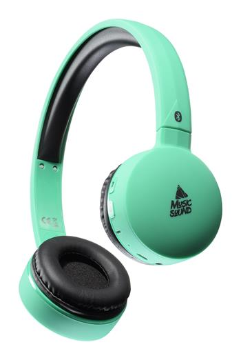 BUS headphone MUSIC SOUND with head and microphone, turquoise