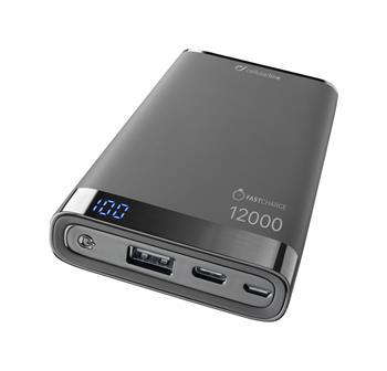 Prémiová powerbanka CellularLine FREEPOWER MANTA S, 12000mAh, USB-C + USB port, černá