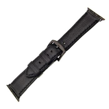 FIXED Berkeley leather strap for Apple Watch 42 mm and 44 mm with black buckle, size L, black