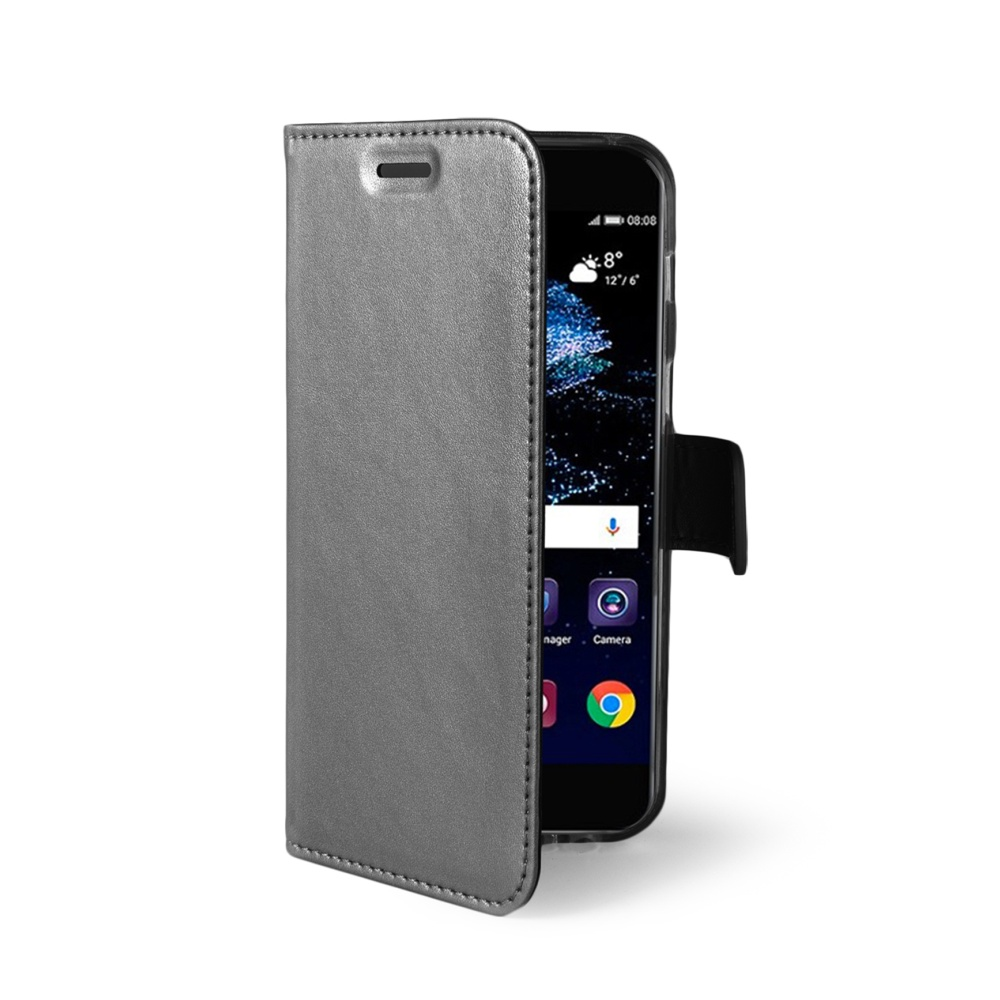 Ultra tenké pouzdro typu kniha CELLY Air pro Huawei P10 Lite, PU kůže, stříbrné