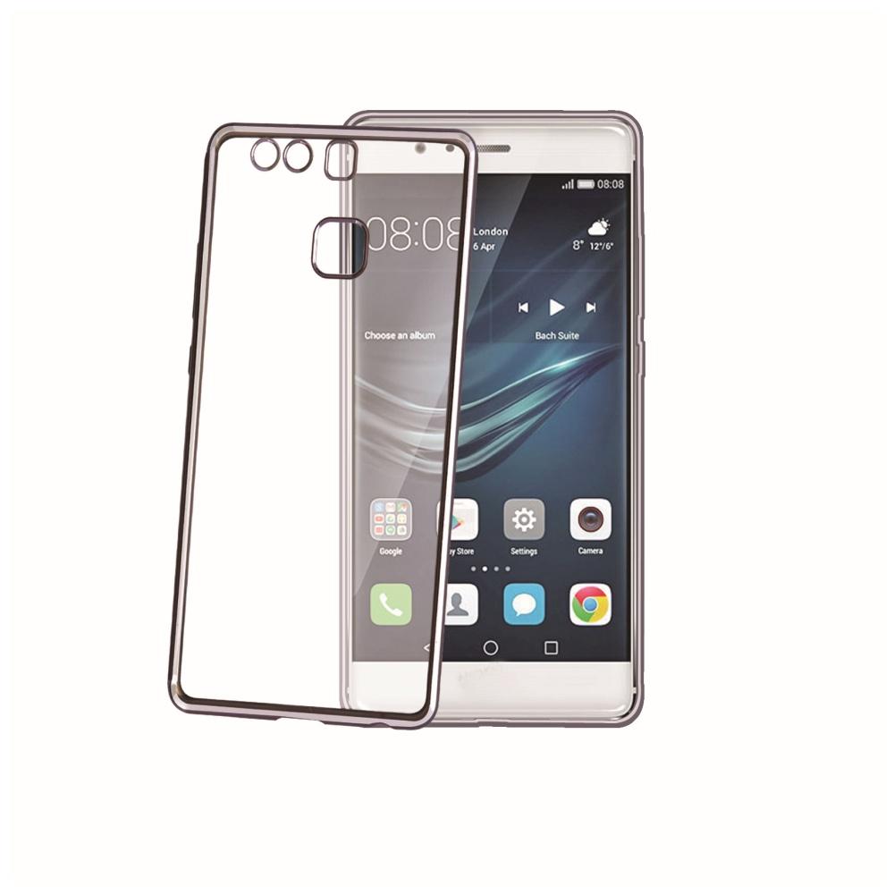 TPU pouzdro CELLY Laser - lemování s kovovým efektem pro Huawei P9, černé