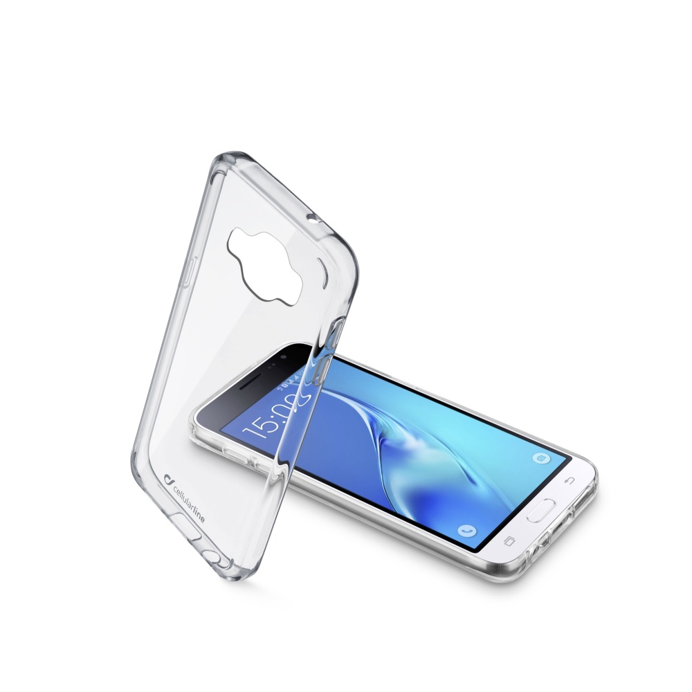 Zadní čirý kryt s ochranným rámečkem Cellularline CLEAR DUO pro Samsung Galaxy  J1 (2016)